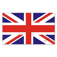 British Flag Euro Oval Sticker (Rectangle)