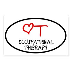Occupational Therapy Heart Oval Sticker (Rectangle)