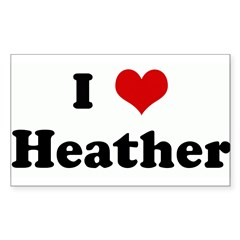I Love Heather Sticker (Rectangle)