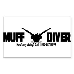 Muff Diving Sticker (Rectangle)
