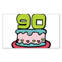 "90th Birthday Cake 3"" Lapel Sticker (48 pk) Sticker (Rectangle)"