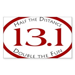 13.1 - Half the Distance Oval Sticker (Rectangle)