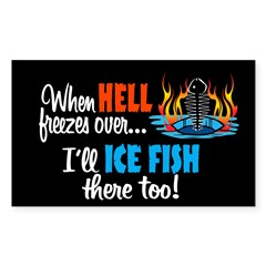 When Hell Freezes Ice Fish Oval Sticker (Rectangle)