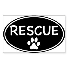 Rescue Black Oval Oval Sticker (Rectangle)