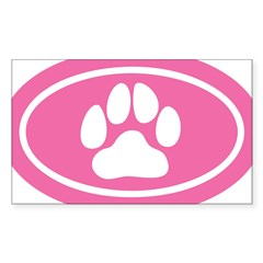 Pink Paw Print Oval Sticker (Rectangle)