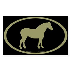 Draft Horse Oval (sage/blk) Oval Sticker (Rectangle)