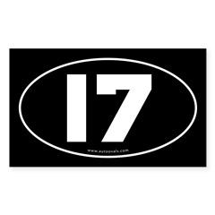 #17 Euro Bumper Oval Sticker -Black Sticker (Rectangle)