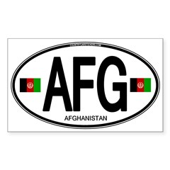 Afghanistan Euro Oval Sticker (Rectangle)