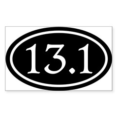 13.1 Half Marathon Oval Sticker (Rectangle)