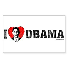 I Love Obama Sticker (Rectangle)