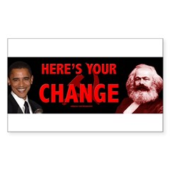 Obama and his mentor Karl Marx Sticker (Rectangle)