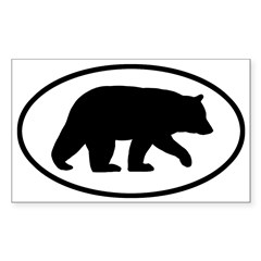 Black Bear Oval Sticker (Rectangle)