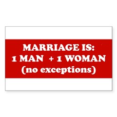 Marriage is 1 Man + 1 Woman Sticker (Rectangle)