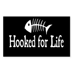 Hooked for Life Oval Sticker (Rectangle)