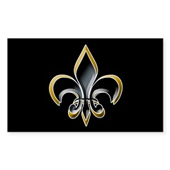 Fleur de Lis on BLK Oval Sticker (Rectangle)