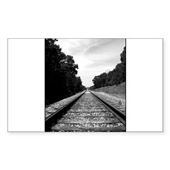 .railroad tracks. b&w Sticker (Rectangle)