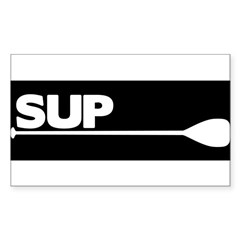SUP Paddle black Sticker (Rectangle)