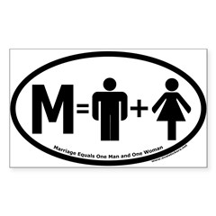 Marriage Equals One Man and One Woman Oval Sticker (Rectangle)