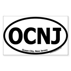 "Ocean City, New Jersey ""OCNJ"" Oval Sticker (Rectangle)"