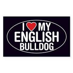 I Love My English Bulldog Oval Sticker/Decal Sticker (Rectangle)