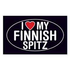 I Love My Finnish Spitz Oval Sticker/Decal Sticker (Rectangle)