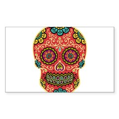 Red Sugar Skull Sticker (Rectangle)
