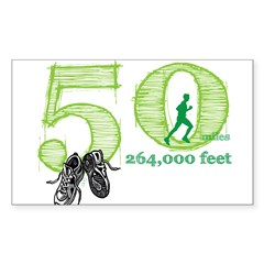 50 Mile Ultra Marathon Men Sticker (Rectangle)