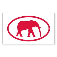 Alabama Red Elephant II Sticker (Rectangle)