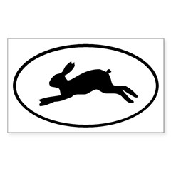 Rabbit Oval Sticker (Rectangle)