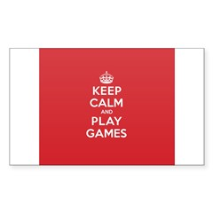 Keep Calm Play Game Sticker (Rectangle)