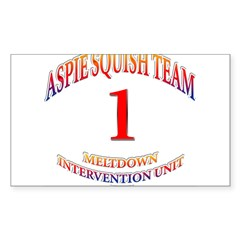 Aspie Squish Team Oval Sticker (Rectangle)
