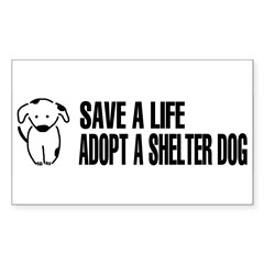 Adopt A Dog Sticker (Rectangle)
