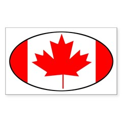 Canadian Flag Oval Sticker (Rectangle)