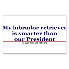 My labrador retriever is smarter (bumper sticker) Sticker (Rectangle)
