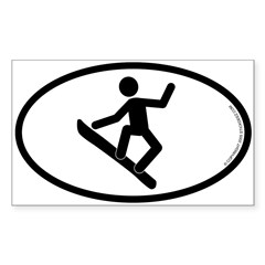"""Snowboarder"" - Oval Sticker (Rectangle)"