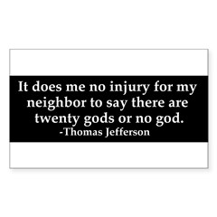Jefferson religious tolerence Sticker (Rectangle)