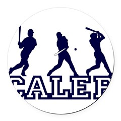 Baseball Caleb Personalized Round Car Magnet