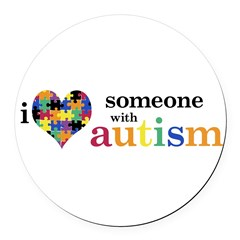 I HEART Someone with Autism - Round Car Magnet