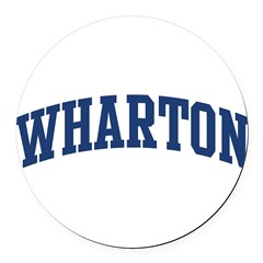 WHARTON design (blue) Round Car Magnet