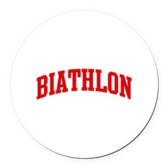 Biathlon (red curve) Round Car Magnet