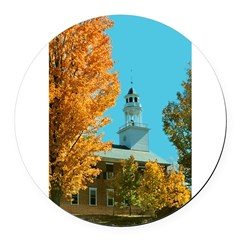 Vermont Country Church Round Car Magnet