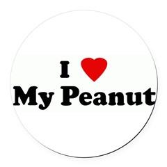 I Love My Peanut Round Car Magnet