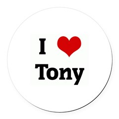 I Love Tony Round Car Magnet