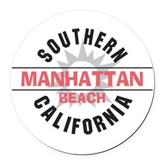 Manhattan Beach CA Round Car Magnet