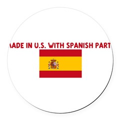 MADE IN US WITH SPANISH PARTS Round Car Magnet