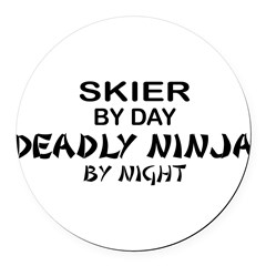 Skier Deadly Ninja Round Car Magnet