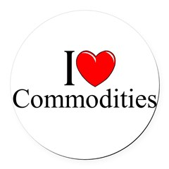 """I Love (Heart) Commodities"" Round Car Magnet"