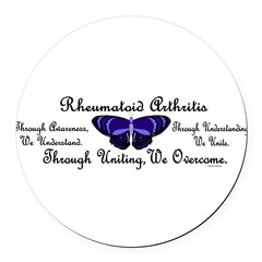 Butterfly Awareness 1 (Rheumatoid Arthritis) Round Car Magnet