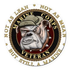 Devil Dog Vet Round Car Magnet