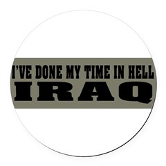 Iraq-Hell Round Car Magnet